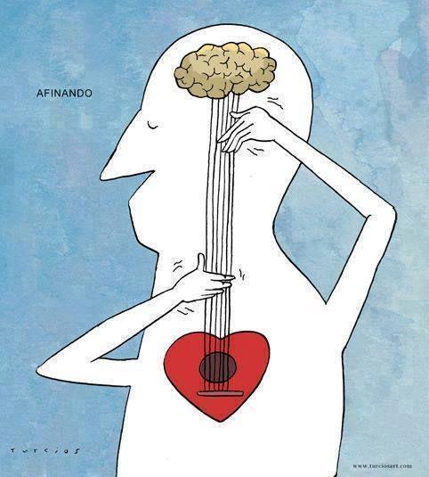 C'est le dessin en couleurs d'un homme dont le cœur est relié au cerveau par des cordes de guitare.