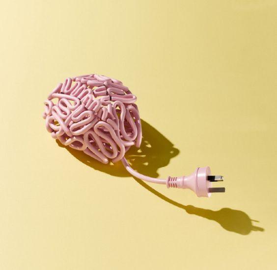 Le fil électrique rose formant un cerveau, duquel dépasse une prise de courant. Le cerveau n'est pas branché !
