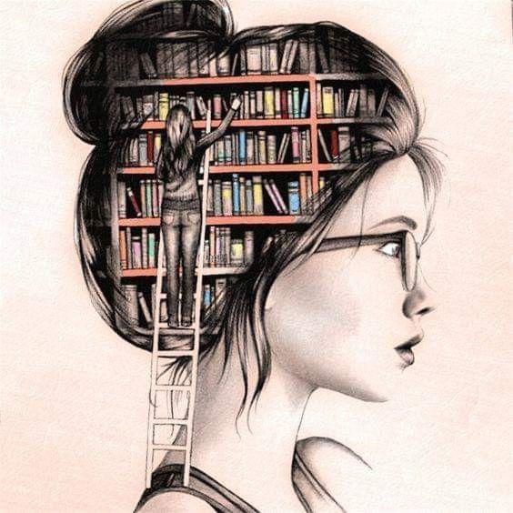 Un dessin d'une jeune fille de profil. On découvre son cerveau une bibliothèque. Une femme montée sur une échelle les range ou en cherche...