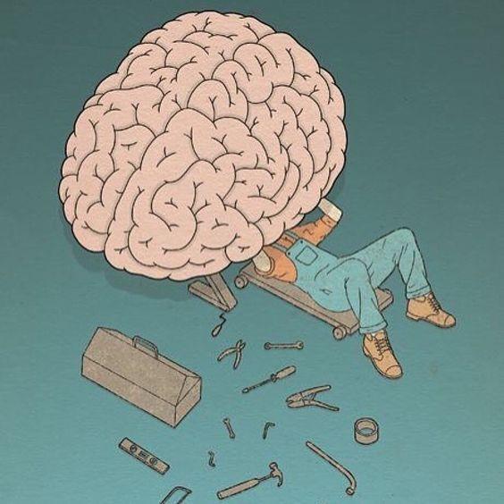 Un mécanicien est en train de réparer un cerveau, comme dans un garage. Sa tête est cachée sous le cerveau. A côté, on voit sa caisse à outils et ses outils qui jonchent le sol.