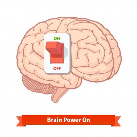 """Le cerveau avec un interrupteur positionné sur """"on"""" (allumé). La légende dit """"Brain Power On"""" (le cerveau est allumé) et j'ai rajouté : """"... et off"""" (éteint) pour faire suite à mon paragraphe précédant."""