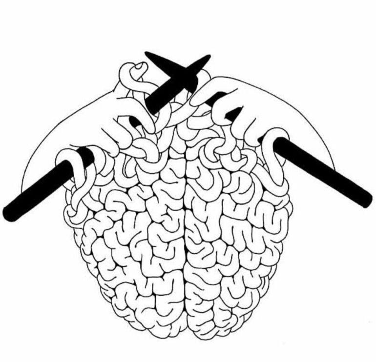 C'est un dessin de deux mains tenant des aiguilles à tricoter, et qui, justement tricotent un cerveau. Elles l'ont presque terminé...